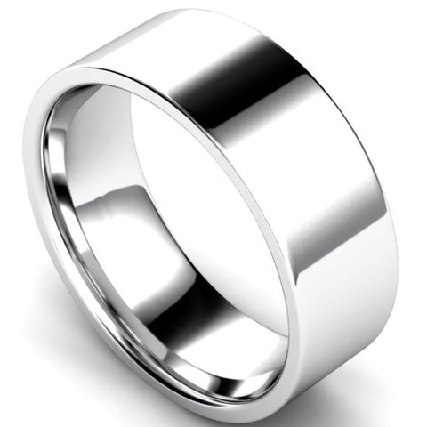 Edged flat court profile wedding ring in platinum, 8mm width