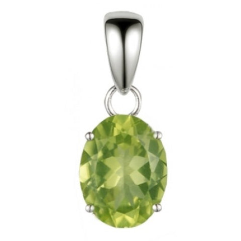 Oval peridot solitaire pendant in 9ct white gold