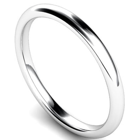 Edged traditional court profile wedding ring in palladium, 2mm width