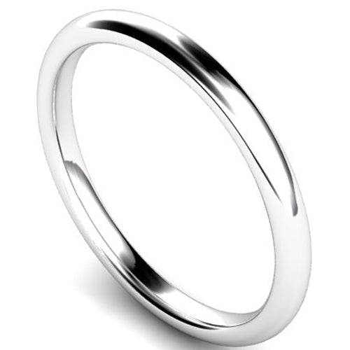 Edged traditional court profile wedding ring in white gold, 2mm width