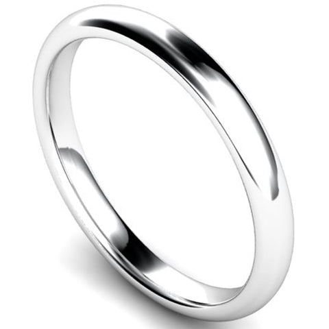 Edged traditional court profile wedding ring in white gold, 2.5mm width