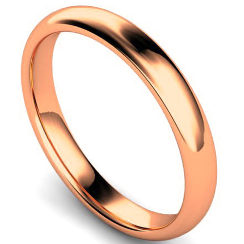 Edged traditional court profile wedding ring in rose gold, 3mm width