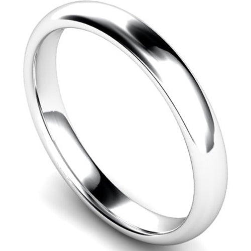 Edged traditional court profile wedding ring in palladium, 3mm width