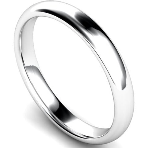 Edged traditional court profile wedding ring in platinum, 3mm width