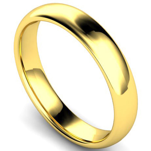 Edged traditional court profile wedding ring in yellow gold, 4mm width