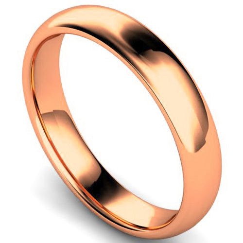 Edged traditional court profile wedding ring in rose gold, 4mm width