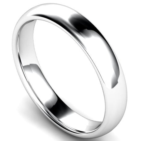 Edged traditional court profile wedding ring in palladium, 4mm width