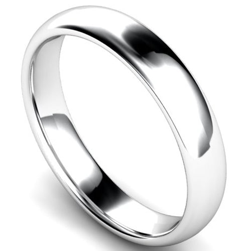 Edged traditional court profile wedding ring in white gold, 4mm width
