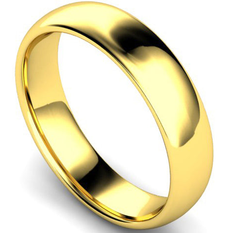 Edged traditional court profile wedding ring in yellow gold, 5mm width