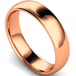 Edged traditional court profile wedding ring in rose gold, 5mm width