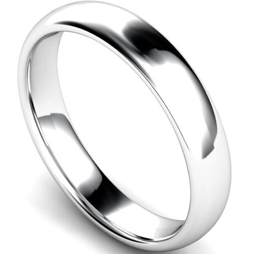 Edged traditional court profile wedding ring in white gold, 5mm width