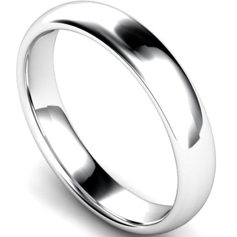 Edged traditional court profile wedding ring in palladium, 5mm width