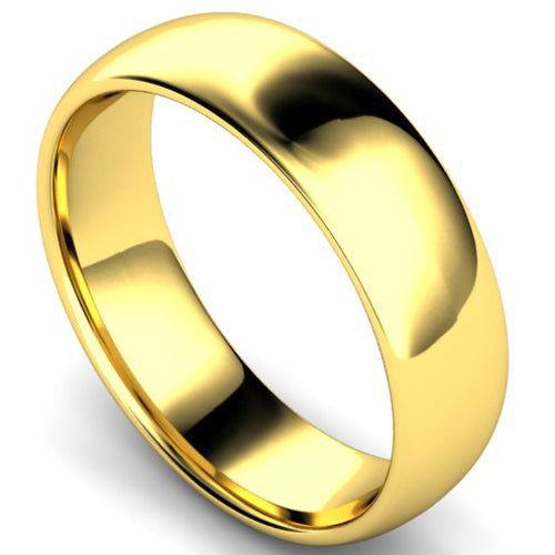 Edged traditional court profile wedding ring in yellow gold, 6mm width