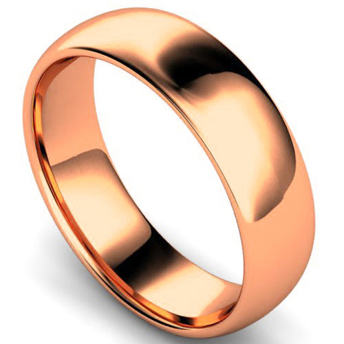 Edged traditional court profile wedding ring in rose gold, 6mm width