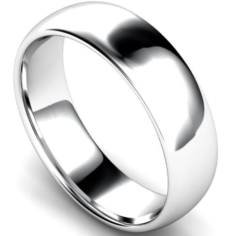 Edged traditional court profile wedding ring in platinum, 6mm width