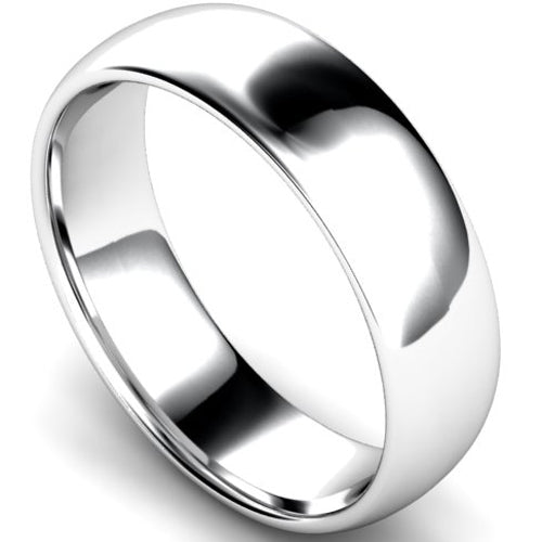 Edged traditional court profile wedding ring in white gold, 6mm width