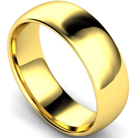 Edged traditional court profile wedding ring in yellow gold, 7mm width