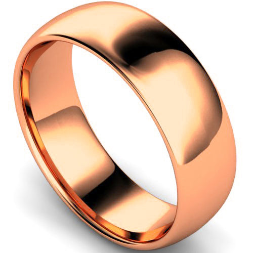 Edged traditional court profile wedding ring in rose gold, 7mm width