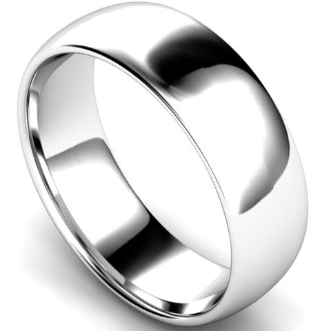 Edged traditional court profile wedding ring in white gold, 7mm width