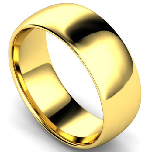 Edged traditional court profile wedding ring in yellow gold, 8mm width