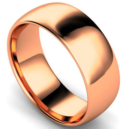 Edged traditional court profile wedding ring in rose gold, 8mm width