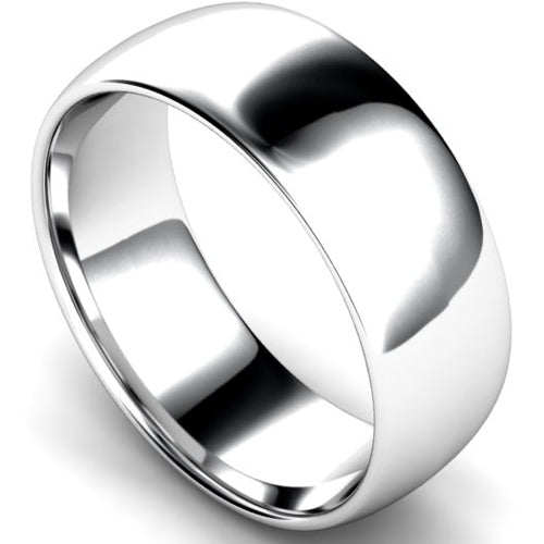 Edged traditional court profile wedding ring in white gold, 8mm width