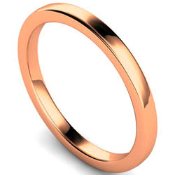 Edged slight court profile wedding ring in rose gold, 2mm width