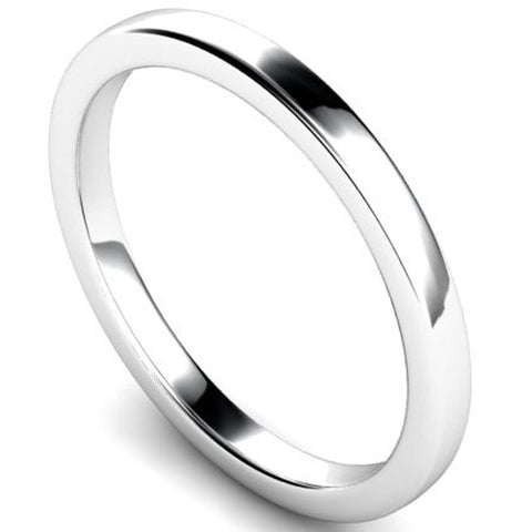 Edged slight court profile wedding ring in white gold, 2mm width