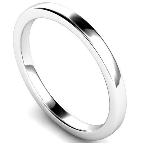Edged slight court profile wedding ring in palladium, 2mm width