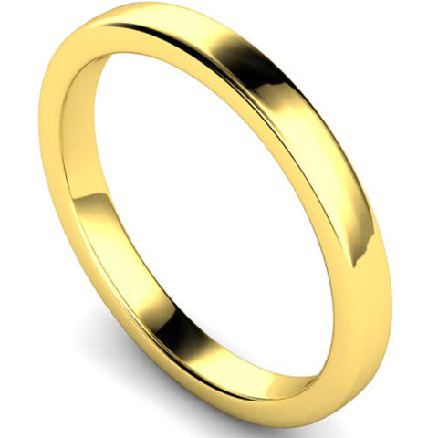 Edged slight court profile wedding ring in yellow gold, 2.5mm width