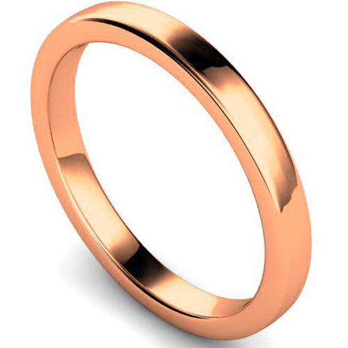 Edged slight court profile wedding ring in rose gold, 2.5mm width