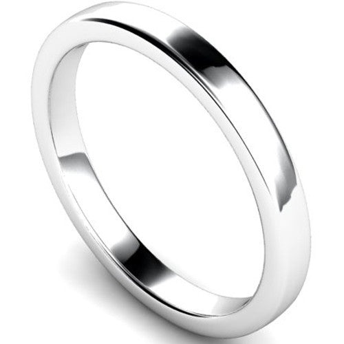 Edged slight court profile wedding ring in platinum, 2.5mm width