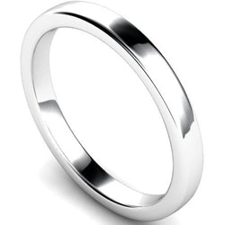 Edged slight court profile wedding ring in white gold, 2.5mm width