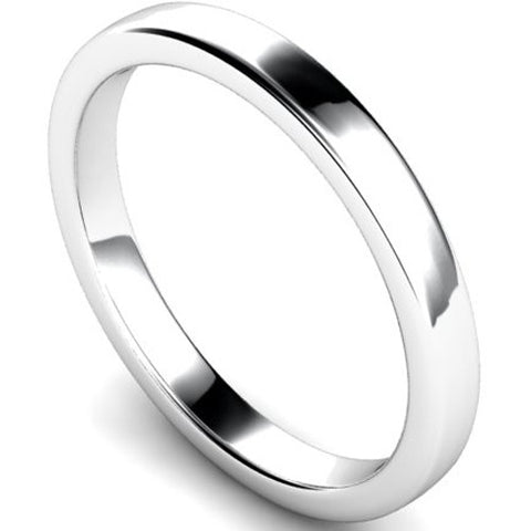 Edged slight court profile wedding ring in palladium, 2.5mm width