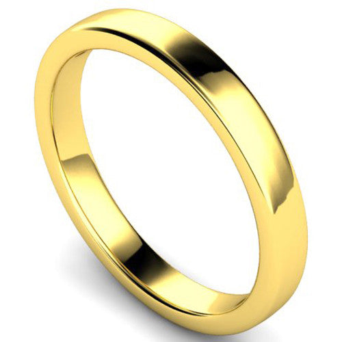Edged slight court profile wedding ring in yellow gold, 3mm width