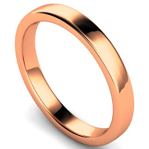 Edged slight court profile wedding ring in rose gold, 3mm width