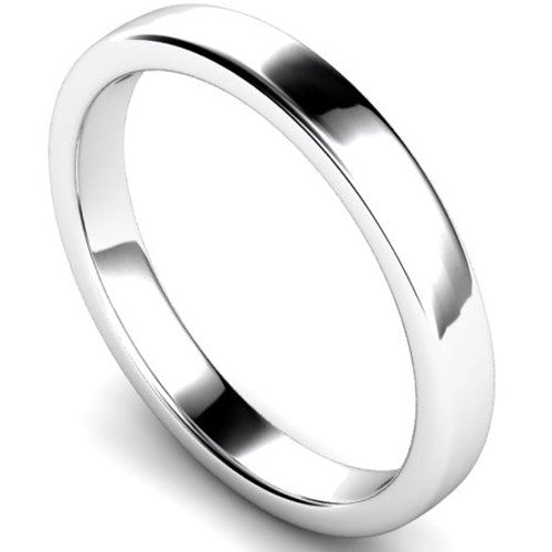 Edged slight court profile wedding ring in white gold, 3mm width