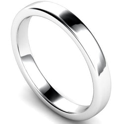 Edged slight court profile wedding ring in platinum, 3mm width