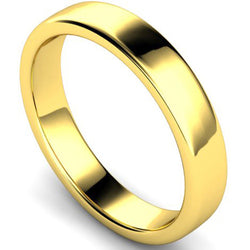 Edged slight court profile wedding ring in yellow gold, 4mm width