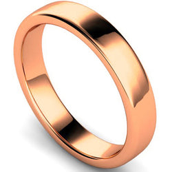Edged slight court profile wedding ring in rose gold, 4mm width