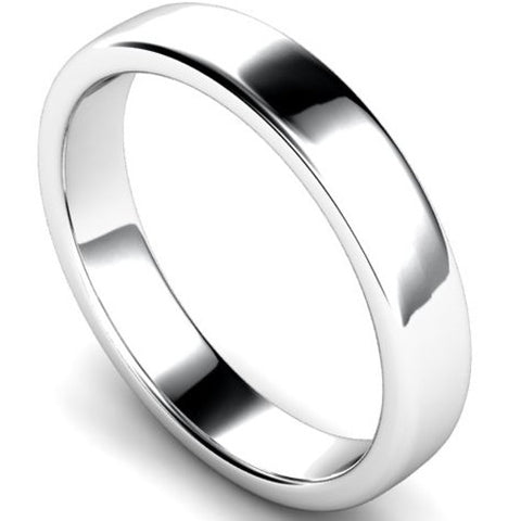 Edged slight court profile wedding ring in white gold, 4mm width