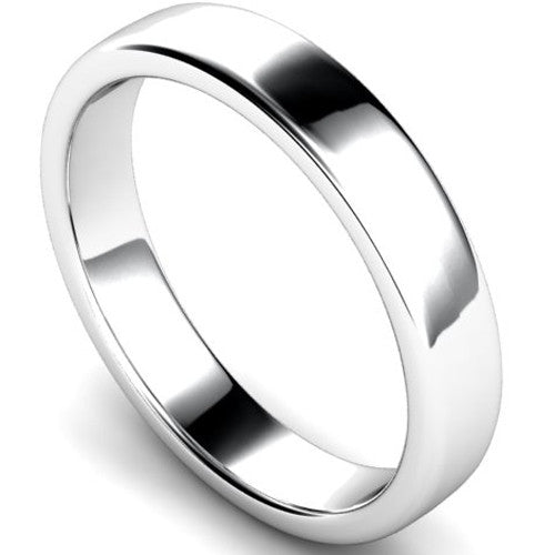 Edged slight court profile wedding ring in platinum, 4mm width