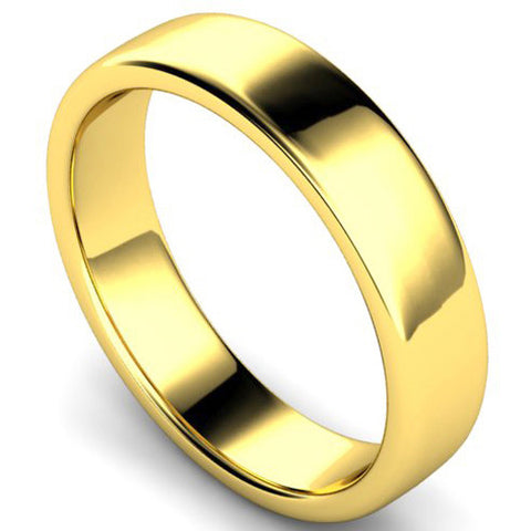 Edged slight court profile wedding ring in yellow gold, 5mm width
