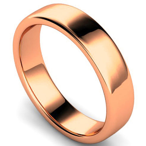 Edged slight court profile wedding ring in rose gold, 5mm width
