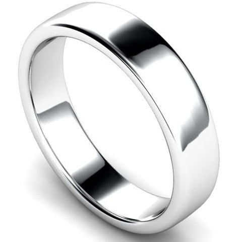 Edged slight court profile wedding ring in platinum, 5mm width