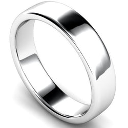 Edged slight court profile wedding ring in white gold, 5mm width