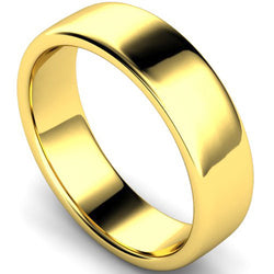 Edged slight court profile wedding ring in yellow gold, 6mm width