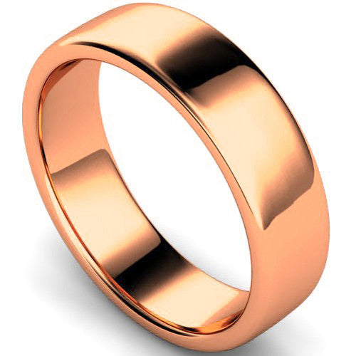 Edged slight court profile wedding ring in rose gold, 6mm width