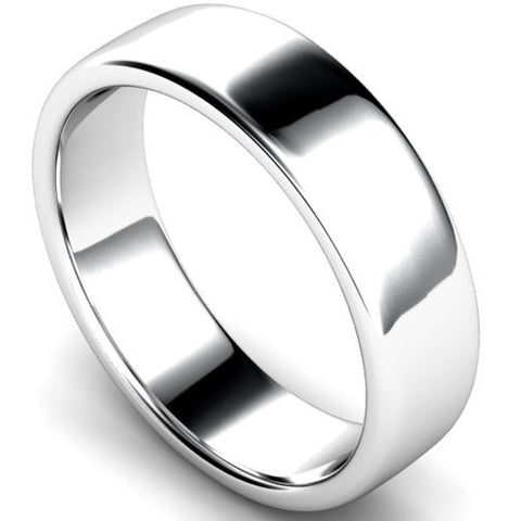 Edged slight court profile wedding ring in palladium, 6mm width