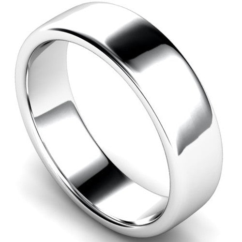 Edged slight court profile wedding ring in white gold, 6mm width